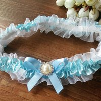 Wholesale ribbon garters resale online - Wedding Vintage Garter blue Ribbon Bow with Pearls Bridal Lace Toss garter