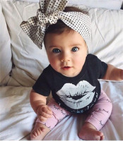Wholesale baby white lips online - baby girls short t shirts black white lip tops children eyes grometric long pants lovely pink style clothing suits