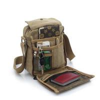 Wholesale mini briefcase men - Hot Charm bags 2018 men's travel bag canvas men messenger bag mini size men's bag luxary vintage style briefcase AA062