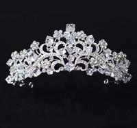 ingrosso tiara di nozze del fiore del diamante-Coreano White Princess Crown Water Diamond Flower Sposa Crown Square Crystal Wedding Dress Portrait Head
