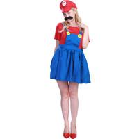 jogo sexy azul venda por atacado-Halloween Azul Vermelho Jogo Cosplay Mulheres Sexy Plumber Party Dress Adulto Anime Dos Desenhos Animados Role Play Game Set Menina Vestido Chapéu Barba