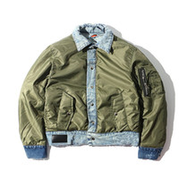 Wholesale Green Flocking - Durable Wear Patchwork Cotton Padded Men's Jacket 2017 Winter Thick Style Ripped Denim Coats Men Green Black 7167OU