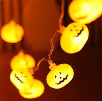 ingrosso luci d'arco arancione-Halloween LED Pumpkin LED String Light Orange Pumpkin Lights Halloween Holiday Decoration Lanterne Design a batteria leggera