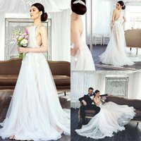 Wholesale Fairy T Shirt - 2018 Bohomian A-Line Wedding Dresses Ivory Fairy Bridal Wedding Party Gowns Halter Neck Beach Boho Wedding Dresses 3D-Flower Appliques