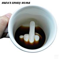 lustige neue hausgeschenke großhandel-Neues Design Weiß Mittelfinger Stil Kaffee Milch Keramiktasse Tasse Lustige Porzellan Wasserbecher Schöne Drinkware Office Home Geschenk