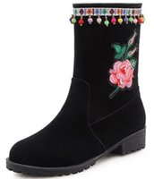 Discount pink girls mid heel - zapatos mujer sapato girls mid-calf women boots chunky mid high heel ladies chaussure shoes woman ethic embroidery bead XZ180599