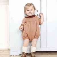 Wholesale crochet baby clothes for sale - Kids Boy Girl Autumn Long Sleeve Jumpsuit New Born Baby Candy Color Knit Crochet Romper Kawaii Clothes One piece Clothing