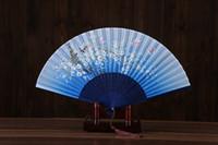 ingrosso vendita di tifosi a mano-Vendita calda rosa cinese stile fan della mano di seta per matrimoni fiore stampato farfalla manico in legno spagnolo ballare puntelli da ballo con nappe
