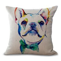 Wholesale hotel paintings - 1 PCS European style bulldog printing pillow case 45*45cm painting serie pillow cover 6 style sofa cotton and linen pillowcase free ship