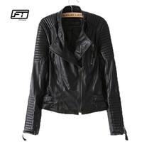 yeni desenler deri ceketler toptan satış-Yeni sonbahar kış kadın PU deri ceket moda Motosiklet ceket kadın perçin uzun kollu kısa tasarım standı yaka temel ceket
