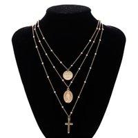 ingrosso catene d'oro collana jesus-Gesù Croce a strati collana pendenti - Moda multistrato fascino collane regalo per le donne gioielli in oro tono argento