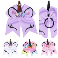 Wholesale animals hair online - Kids Unicorn Horn Hair rope Bowknot Bows Sequin Ponytail Holder Rubber Band Hair Ties Rope KKA5575