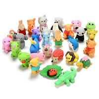 borrachas para animais para lápis venda por atacado-Encantador Dos Desenhos Animados Animal Eraser Lápis Novidade Aprendizagem Brinquedos Para Crianças De Borracha Correcção Eraser Mix