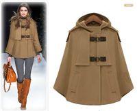 abrigos de estilo del cabo al por mayor-azul oscura capa del cabo de lujo estilo de Steampunk de lana chaqueta corta con la capa más el tamaño de cachemira capa larga del diseñador del invierno de la mujer