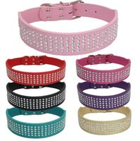 Wholesale leather rhinestone dog collar row resale online - 5 Rows Rhinestone Big Dog Puppy Pet Collars Bling Full Diamante Leather Collar colors XS S M L