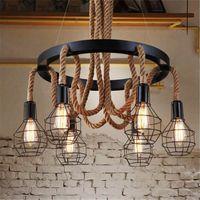 Wholesale Fluorescent Rope Light - Retro led rope pendant Lights edison Industrial pendant light chandelier Vintage Restaurant Living bar lighting fixtures