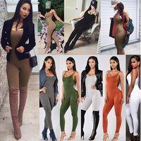 insgesamt frauen khaki groihandel-2018 Frauen Sommer Wildleder Bodycon Bodysuit Strampler Womens Partei eleganter Overall ärmellose Einteiler Outfits Overall Overall