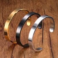 jóias graváveis venda por atacado-Pulseiras de ouro Personalizado Gravura Jóias de Aço Inoxidável 6mm Homens Gravável C Cuff Bracelet Casal Pulseira para As Mulheres Venda Quente