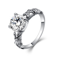 Wholesale classic gypsy - Luxurious Classic popular full zircon 316L Stainless Steel Imitation Rhodium Plated lovers women wedding rings for girlfriend gift