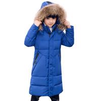bdd46900 Kids Winter Jacket Coat 2018 Fur Hood Jacket for Children Snow Wear Parka  Thick Warm Down Children Christmas Winter Coat 8-16Y