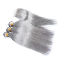 indische jungfrau frontverschluss großhandel-Farbige graue indische reine Menschenhaar-Einschlagfäden mit oberem Verschluss gerade silberne graue reine Haarwebart bündelt mit 4x4 vorderem Spitze-Verschluss