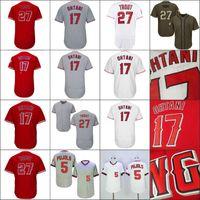 Wholesale Griffey S - Shohei Ohtani Mens Los Angeles 17 Shohei Ohtani 27 Mike Trout Baseball Jerseys White Red Grey Flexbase Embroidery Logos Mix Order S-4XL