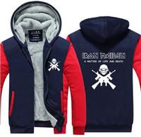 Wholesale Iron Fleece - Iron Maiden hoodie men Winter Women Men Hoodie British Heavy Metal Band Fleece Hooded Zip Casual Sweatshirts hoodies Tops USA size Plus size