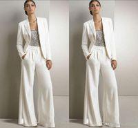 modestas mujeres vestidos formales al por mayor-2019 Nuevos Bling Lentejuelas Marfil Pantalones Blancos Trajes Madre de La Novia Vestidos Formales Gasa Smokinges Partido de Las Mujeres Nueva Moda Modest 2018