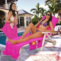 Wholesale cover decks - 73*210CM Beach Chair Towel Cover Deck Chair Blankets Portable Incidental Strap Microfiber Beach Towels Double Layer Fabric Blanket