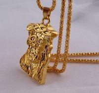 sıcak i̇sa kuyumculuk askıları toptan satış-Sıcak altın dolgulu İsa parça kolye kolye erkekler kadınlar için hip hop takı altın tıknaz zincir uzun kolye