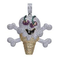 collares de esqueleto al por mayor-Helado hacia fuera Cubic Zircon Corsair Skullon Skull Ice Cream Pendant Necklace con cadena de cuerda de acero inoxidable