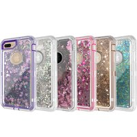 Wholesale quicksand case online - For iPhone Plus Case in1 Defender Phone Case Liquid Quicksand Glitter Back Cover with Dust Plug for iPhone XS XR