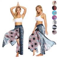 pantalones de yoga danza del vientre al por mayor-Mujeres pantalones de yoga cintura elástica bohemio hippie gitana Harem Palazzo imprimir danza del vientre linterna pantalones de pierna ancha de secado rápido DHL envío