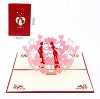 Wholesale Wedding Anniversary Invitation Cards - New 3D Pop Up Greeting Cards Invitations Valentine Lover Love Romantic Birthday Wedding Anniversary Greeting Cards Gift Postcard