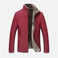 Wholesale mens wool coat leather sleeves - Mens Leather Jackets Shearling Coat Leather Suede Jackets Winter Clothes Thick Warm Outwear Overcoat Cashmere Fur High Quality