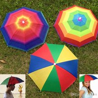 Wholesale foldable umbrellas - Adult Children Outdoor Foldable Sun Umbrella Hat Golf Fishing Camping Shade Beach Headwear Cap Headband Hats ZJ-U01