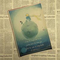 peri kağıt toptan satış-Vintage Poster Peri masalı Küçük Prens kraft kağıt afiş, retro nostalji 42x30 CM Dekoratif Duvar Sticker