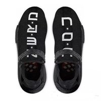 Wholesale r shoes - Original Authentic NMD Trail Human Race HU Pharrell NERD Black White Running Shoes Men Sneakers Y O U N E R D Sports Shoes BB7603 With Box