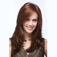 длинные волосы, слоистые парики оптовых-18 дюймов Женская мода парик стили Синтетические длинные слоистые прямые волосы парики для женщин без шапки темно-коричневый парик
