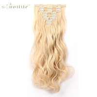 """Wholesale long hairpieces for women - SNOILITE 17"""" Women Long Curly Synthetic 18 Clip in Hair Extension Real Natural Hair Hairpieces for Human 8pcs lot Party Cosplay"""