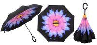 regenschirmhalter großhandel-Yesello Reverse Umbrellas Folding Double Layer Inverted C Handhalter Winddicht Überrollschirm für Frauen