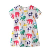 çocuklar giyim fiyatları toptan satış-2018 Yaz Kız giyim Sevimli Pamuk Elbiseler Fil Flamingo Hayvan Kısa kollu Çocuk giyim Baskı Toptan Ucuz fiyat 18 M-6 T