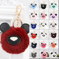 Wholesale valentine hair for sale - Fur Pompom Keychain Fashion Lovely Bear Rabbit Hair Pu Leather Designer Key Holder Pendant For Valentine Day Gift cn UU