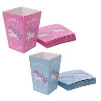 ingrosso tazze di carta blu-10 Pz / lotto blu / rosa unicorno Popcorn Tazze Carino rosa Usa e getta Contenitore di Popcorn Per Bambini Happy Birthday Party Decorazioni Forniture
