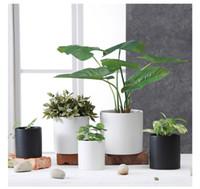 Wholesale ceramic stock pots - succulents pots Simple Round white black Matte flower pots planters succulent plant potted on the desk home decoration four sizes in stock