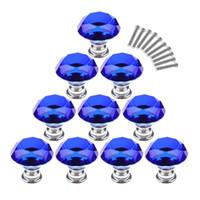ingrosso manopole blu del cassetto-10 pezzi / set 30 mm di cristallo di vetro forma di diamante manopole armadio cassetto estraibile maniglie - blu scuro