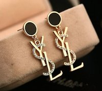Wholesale designer jewelry earrings - 2018New Luxury Brand Designer Stud Earrings Letters Ear Stud Earring Gold Silver Jewelry Accessories Gift for Women Girls Free Shipping