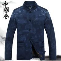 çince geleneksel erkek takımları toptan satış-Geleneksel çin kung fu takım erkek giyim ceket erkekler için cheongsam tang takım oryantal giymek vintage adam mens çin üstleri