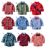 Wholesale collars for blouses online - Kids Boys Autumn Plaid Shirts Fashion Long Sleeve Cotton Blouse with Bow Tie for Baby England School Gentleman Trend Children Clothing Top