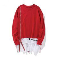 doppelschicht-sweatshirt großhandel-2018 New Front Lange Zipper Zurück Band Hoodies Hip Hop Ratchwork Erweiterte Pullover Sweatshirts Mode Doppelschicht Streetwear
